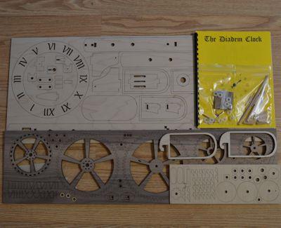 Diadem wooden clock kit contents