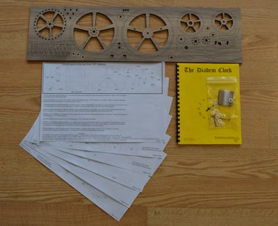 Diadem wooden clock plan and gears