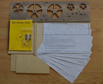 Diadem wooden clock plan/gear/material contents