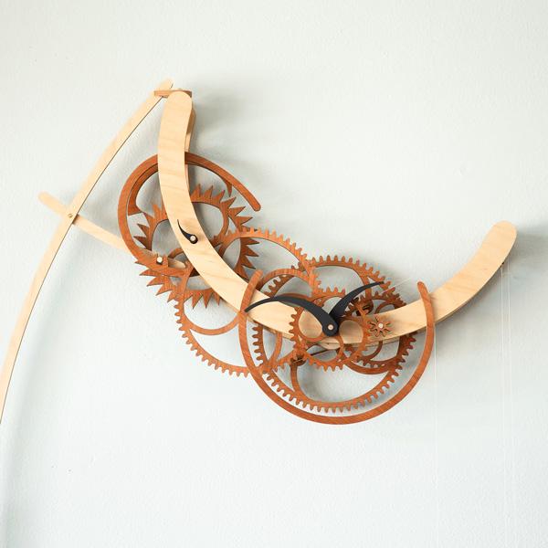 Crescent Wooden Gear Clock