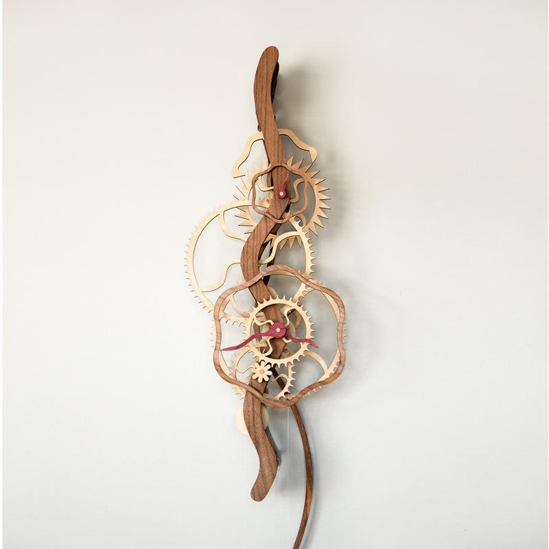 Serpentine Wooden Gear Clock